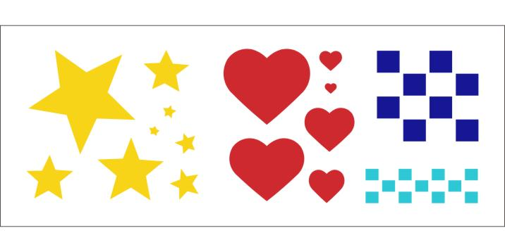 PKG41800 Stars, Hearts, Checks